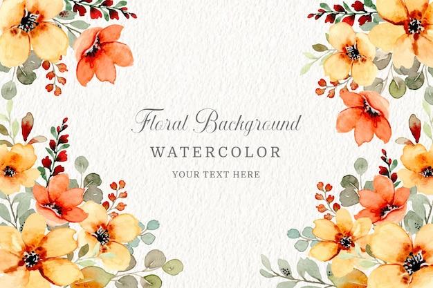 水彩で黄色の花の背景