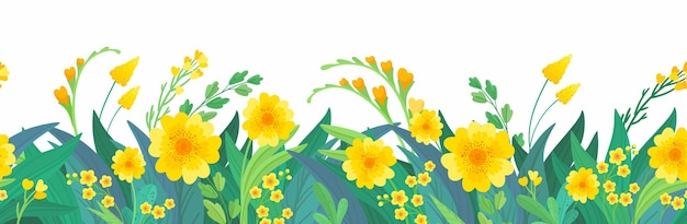 Yellow floral horizontal background spring flowers