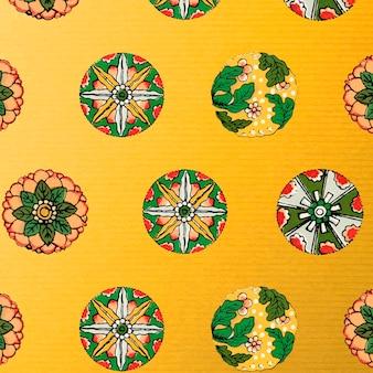 노란색 꽃 무늬 배경 디자인 요소