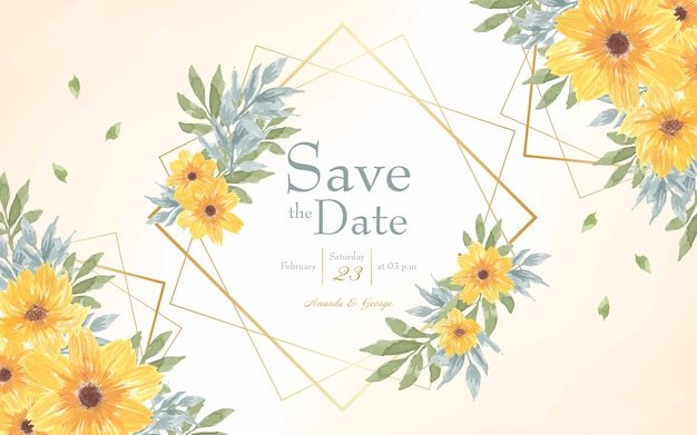 Yellow floral save the date invitation card with abstract watercolor background