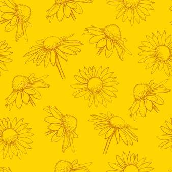 黄色の花のシームレスなパターン手描きカモミールベクトル図