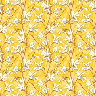 Yellow floral seamless pattern with branch and white magnolia flower.