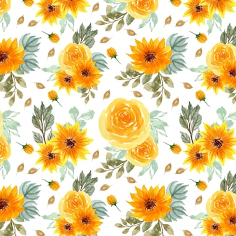 Yellow floral seamless pattern