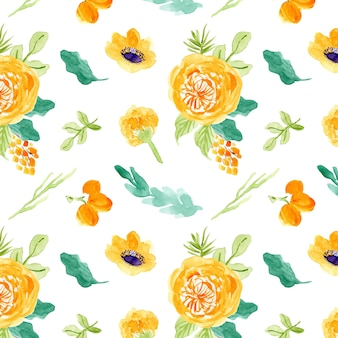 Yellow floral watercolor seamless pattern