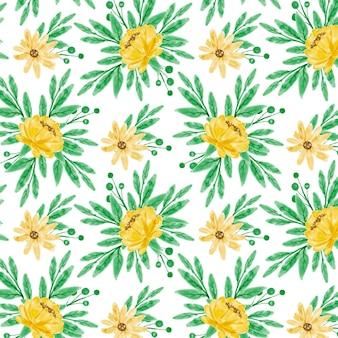 Желтый цветочный акварель бесшовные модели