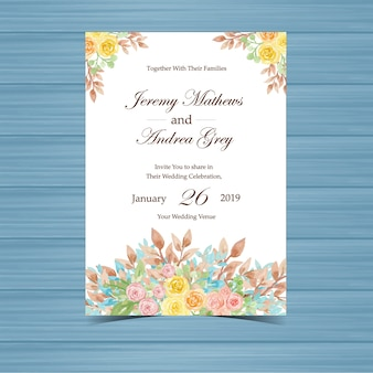 Yellow Floral Wedding Invitation