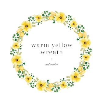 Yellow floral wreath with green leaves