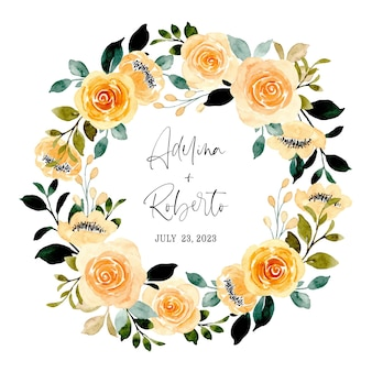 Yellow floral wreath with watercolor