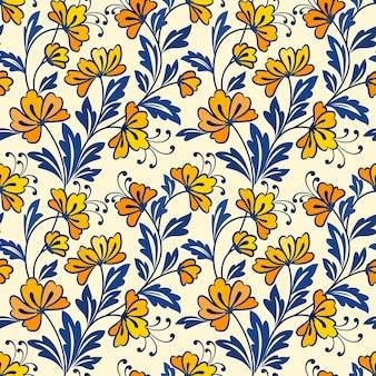 黄色い花と青い葉のデザインのシームレスなパターン。