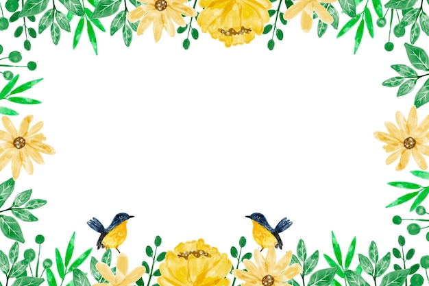 Yellow flower background with watercolor
