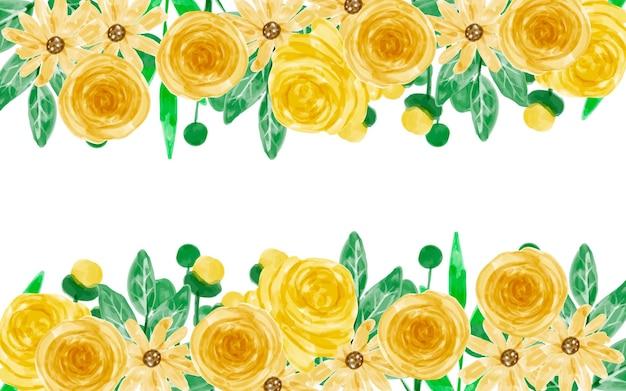 Желтый цветочный фон с акварелью