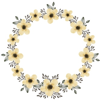 Yellow flower bouquet circle frame with watercolor yellow flowers