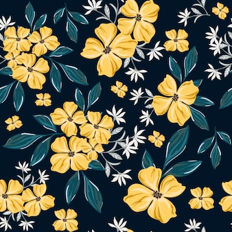 Yellow flower seamless pattern