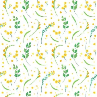 黄色い花と葉のシームレスなパターン