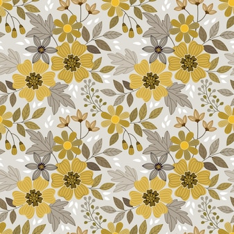 Yellow flowers design seamless pattern for fabric textile wrap paper background.