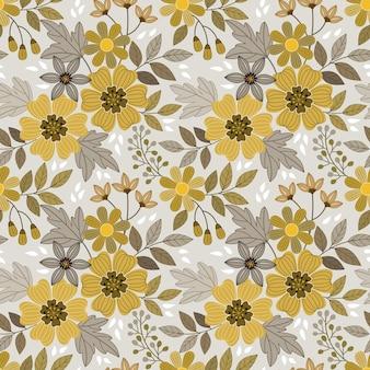 黄色い花は、ファブリックテキスタイルラップ紙の背景のシームレスなパターンを設計します。
