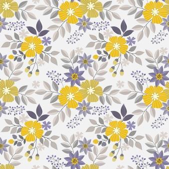 Yellow flowers design seamless pattern