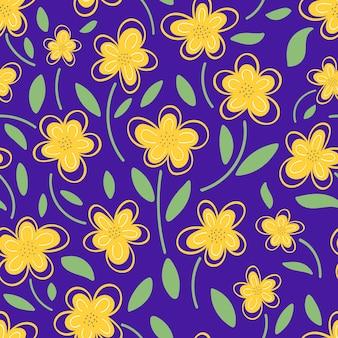 보라색 배경 원활한 패턴 벡터 일러스트 레이 션에 노란색 꽃