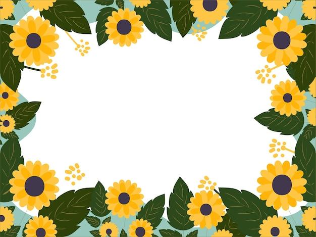 白い背景に飾られた緑の葉と黄色い花