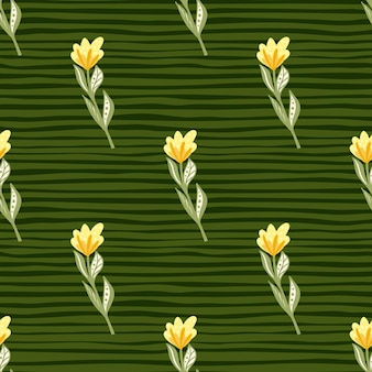 Yellow flowers with leaves pattern on a green striped background