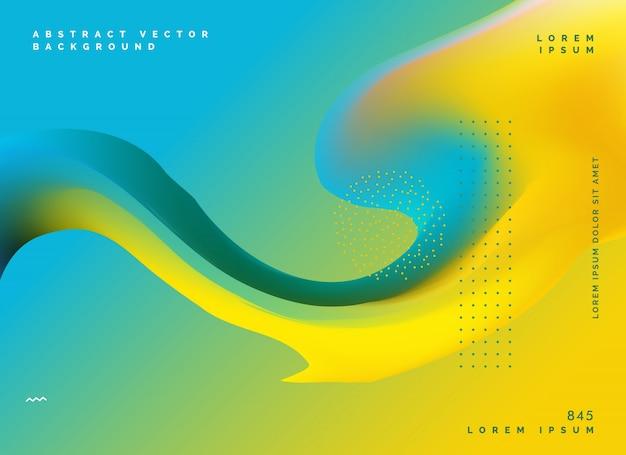 黄色の流体カラーメッシュの背景デザインのポスターテンプレート