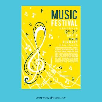 Concetto di volantino giallo per festa di musica