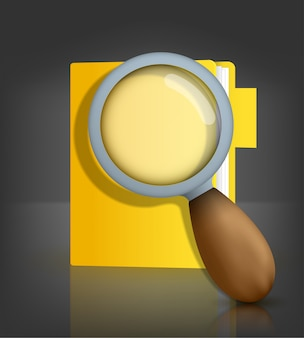 Yellow folder icon with magnifying