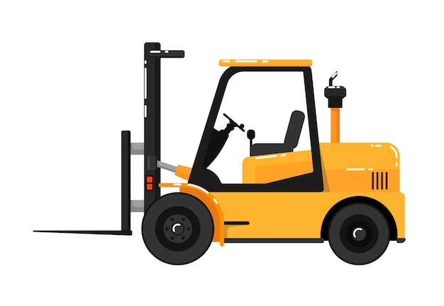 Yellow forklift truck isolated on white