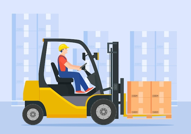 Yellow forklift truck with driver. electric uploader.