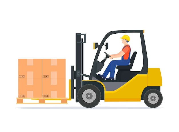 Yellow forklift truck with driver isolated on white background.
