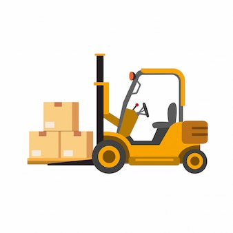 Yellow forklift with package, shipment process symbol icon in flat illustration   isolated