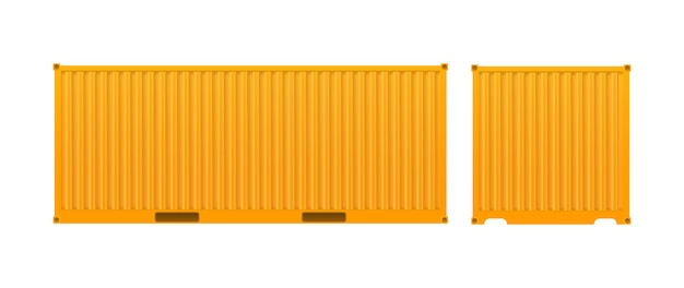 黄色の貨物コンテナ。白い背景で隔離の船の大きなコンテナ。ベクター。