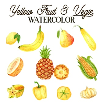Yellow fruits and vegetables watercolor illustration