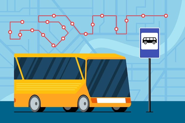 Yellow futuristic city transport bus on road near bus stop station sign on map with traffic
