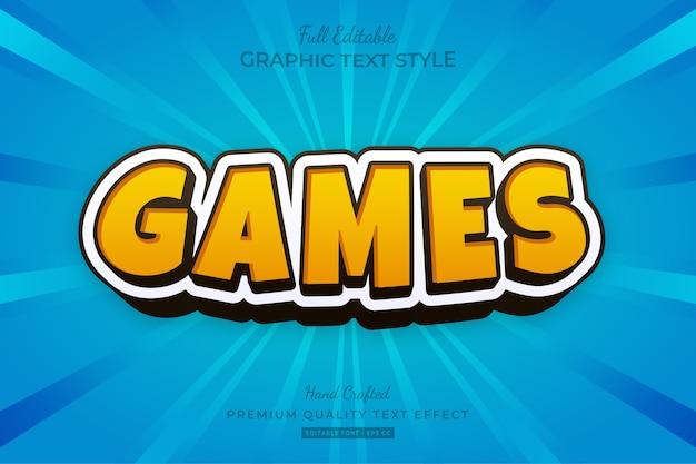 Желтый игры мультфильм редактируемый текстовый эффект стиль шрифта