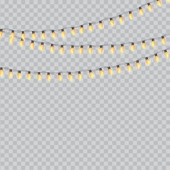 Желтые гирлянды лампочки праздничный изолированных иллюстрация