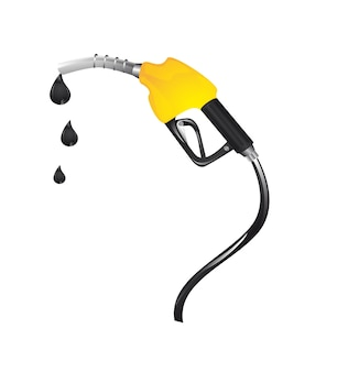 Yellow gasoline fuel with drops over white background vector