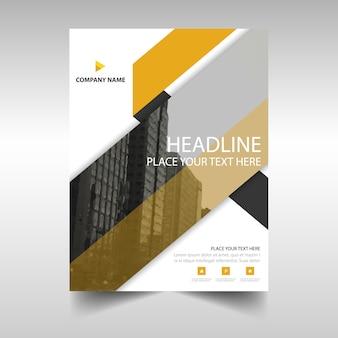 노란색 기하학적 연례 보고서 책 표지 서식 파일