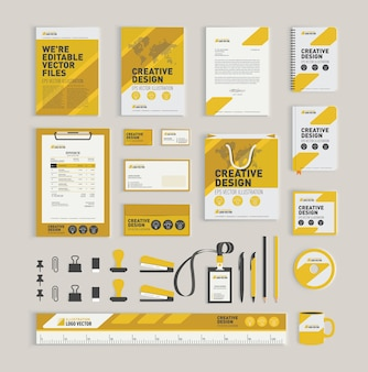 Yellow geometric corporate identity design template