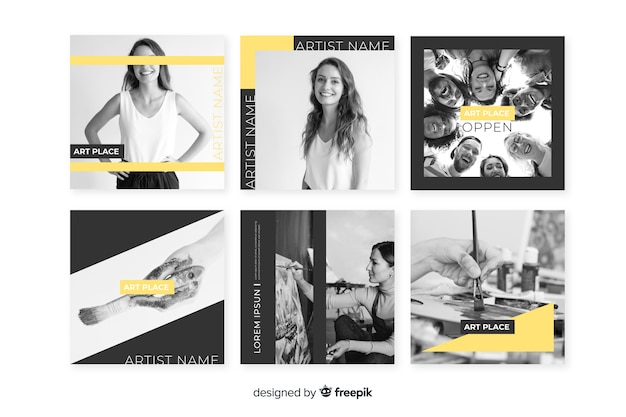 Yellow geometric instagram post template with photos