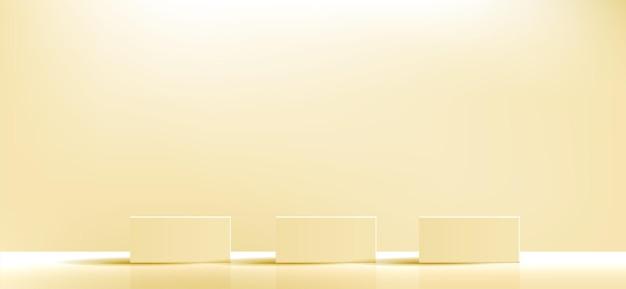 노란색 기하학적 연단 광장 및 화장품 제품 프레젠테이션을 위한 최소 상자 빈 쇼케이스