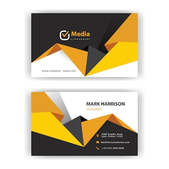 Yellow geometric shape business card