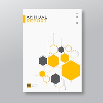 Yellow geometry shape design annual report template
