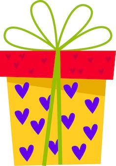 A yellow gift box with hearts and a bow for all holidays in a flat style