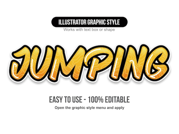 Yellow glossy brush lettering text effect