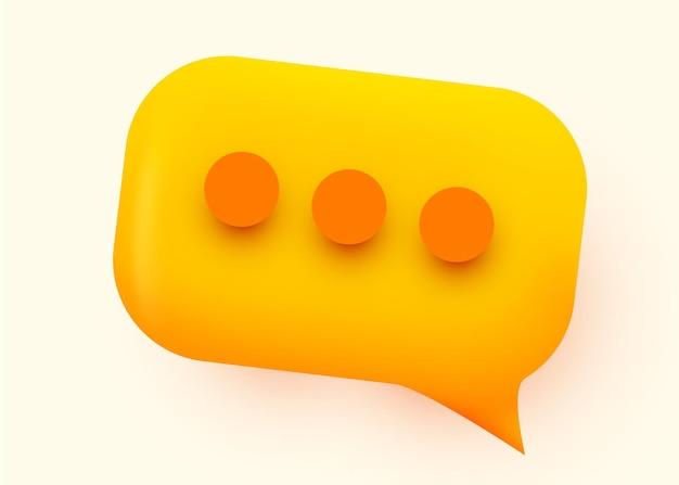 Желтая глянцевая иллюстрация пузыря речи. концепция коммуникации социальной сети.