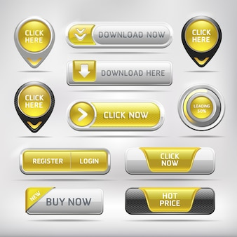 Yellow glossy web elements button set