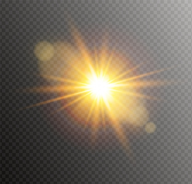 Yellow glowing light burst explosion. bright star flare.