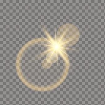 투명 한 바탕에 노란색 빛나는 빛 버스트 폭발. 레이와 조명 효과 장식. 밝은 별. 반투명 빛나는 태양, 밝은 플레어.