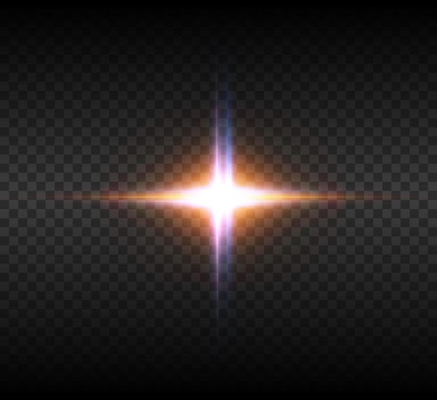 Yellow glowing light burst explosion  with ray sparkles. bright star.